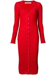 Givenchy Ribbed Long Length Cardigan Women Wool Xs Red