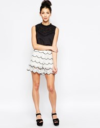 Sister Jane Falcon Wing Shorts In Scalloped Lace White
