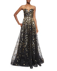Naeem Khan Strapless Metallic And Lace Gown