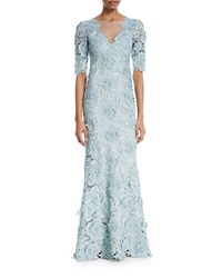 Catherine Deane Keeton Rose Lace V Neck 3 4 Sleeve Illusion Gown Aqua Silver