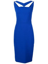Christian Siriano Cut Out Fitted Dress Blue