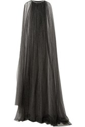 Monique Lhuillier Woman Crystal Embellished Swiss Dot Tulle Cape Black