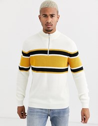 Only And Sons Quarter Zip Jumper In White With Chest Stripe Black