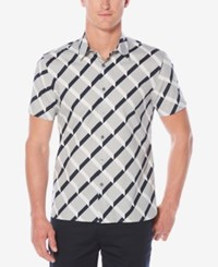 Perry Ellis Men's Optical Ribbon Striped Shirt Alloy