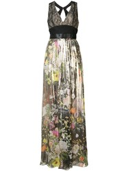 Monique Lhuillier Pleated Floral Gown Women Silk Polyamide Polyester Viscose 2