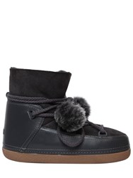 Inuikii 20Mm Pompom Suede And Leather Snow Boots