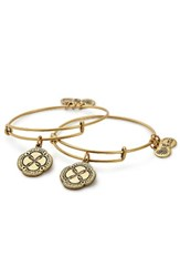 Alex And Ani Women's Infinite Connection Set Of 2 Adjustable Wire Bangles Gold