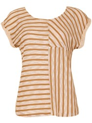 Izabel London Contrast Panel Stripe Top Beige