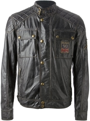 Belstaff Waxed Cotton Biker Jacket Brown