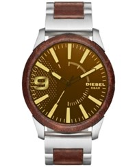 Diesel Men's Stainless Steel And Brown Leather Bracelet Watch 46X53mm Dz1799 Silver