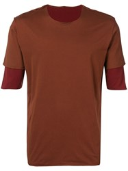 Attachment Exposed Seams Layered T Shirt Brown