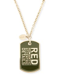 Red Valentino Logo Pendant Necklace Gold Green