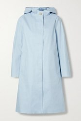 Mackintosh Chryston Hooded Bonded Cotton Trench Coat Sky Blue