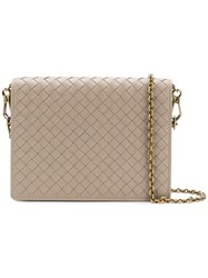 Bottega Veneta Woven Chain Wallet Nude And Neutrals