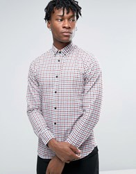 Selected Homme Long Sleeve Slim Fit Shirt In Gingham Check Button Down Collar Blue Apple Red