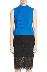 Diane Von Furstenberg Women's Ediva Wool And Cashmere Mock Neck Sweater Neptune Blue