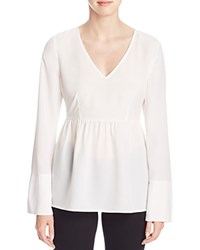 Finity Long Sleeve Peplum Top White