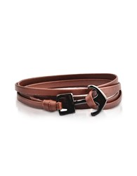 Forzieri Men's Bracelets Leather Men's Double Bracelet W Black Anchor