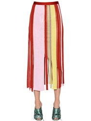 Marco De Vincenzo Perforated Stretch Knit Fringed Skirt