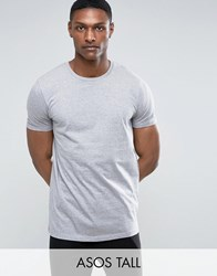 Asos Tall Longline T Shirt With Crew Neck Grey Marl