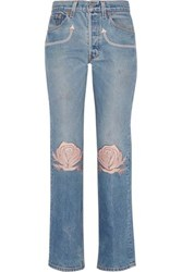 Bliss And Mischief Song Of The West Embroidered Mid Rise Straight Leg Jeans Light Denim