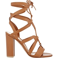 Gianvito Rossi Strappy Lace Up Sandals Beige Tan