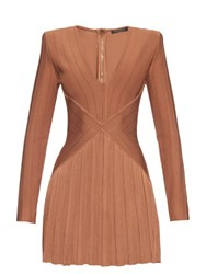 Balmain V Neck Bandage Mini Dress Dark Beige