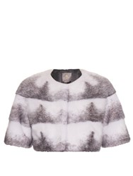 Lilly E Violetta Sarah Mink Fur Cropped Jacket White Multi