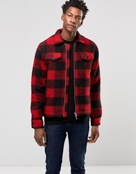 Wood Wood Dale Lumber Jacket Wool Block Check Biking Red Checks