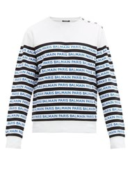 Balmain Logo Stripe Cotton Jersey T Shirt Black Blue