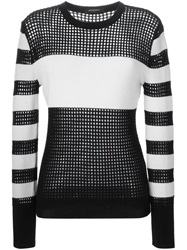 Unconditional Striped Open Knit Sweater Black