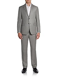 Saks Fifth Avenue Black Slim Fit Sharkskin Wool Suit Light Grey