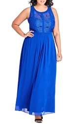 City Chic Plus Size Paneled Lace Bodice Gown Ultra Blue