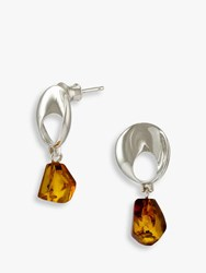 Be Jewelled Abstract Amber Drop Earrings Silver Cognac