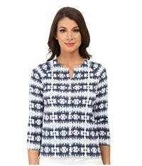 Pendleton Boardwalk Print Cardigan Indigo Batik Print Women's Sweater Gray