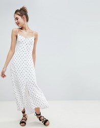 Hollister Button Through Maxi Dress White Print