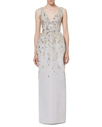 Carolina Herrera Floral Embellished Sleeveless V Neck Gown Silver