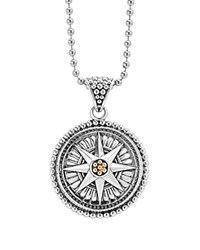 Lagos 18K Gold And Sterling Silver Signature Caviar Compass Pendant Ball Chain Necklace 34 Silver Gold