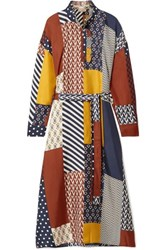 Tory Burch Bianca Patchwork Printed Silk Twill Midi Dress Navy