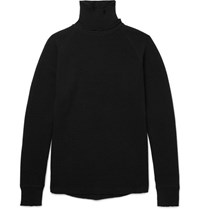 Sacai Waffle Knit Wool Rollneck Sweater Black