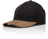 Luciano Barbera Men's Micro Check Cashmere Baseball Cap Black Brown Black Brown