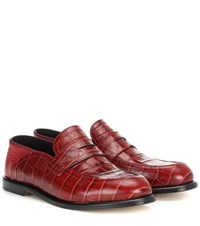 Loewe Croc Effect Leather Loafers Red