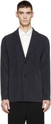 Homme Plisse Issey Miyake Navy Pleated And Printed Blazer