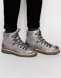 Asos Lace Up Boots In Grey Leather With Chunky Sole Grey