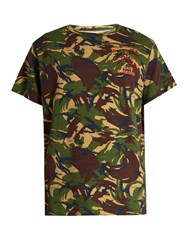 Off White Camouflage Print Cotton Jersey T Shirt Green Multi