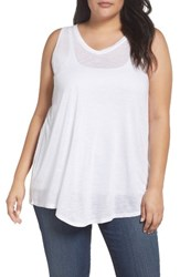 Sejour Plus Size Women's Triangle Knit Tank White