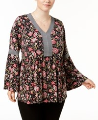 Style And Co Plus Size Printed Babydoll Tunic Created For Macy's Etched Blooms