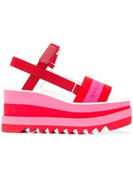 Stella Mccartney Wedge Logo Sandals Red