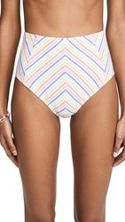 Kate Spade New York Beach Stripe High Waist Bikini Bottoms White