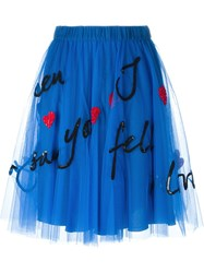 P.A.R.O.S.H. Sequin Embellished Tulle Skirt Blue